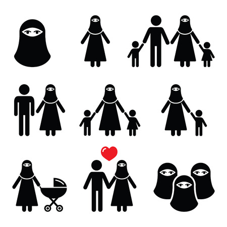 burqa: Muslim woman in burqa or burkha, bourkha, burka - family
