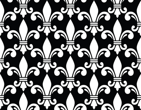 monarchy: Fleur de lis symbol white pattern on black Illustration