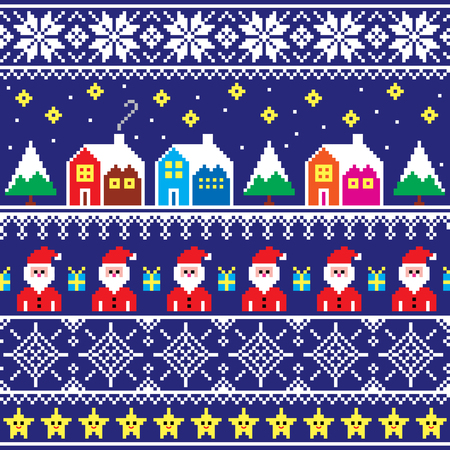 Christmas jumper or sweater seamless pattern with Santa and houses Illustration