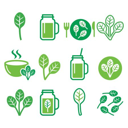 salad bowl: Spinach, healthy food - green smoothie icons set Illustration