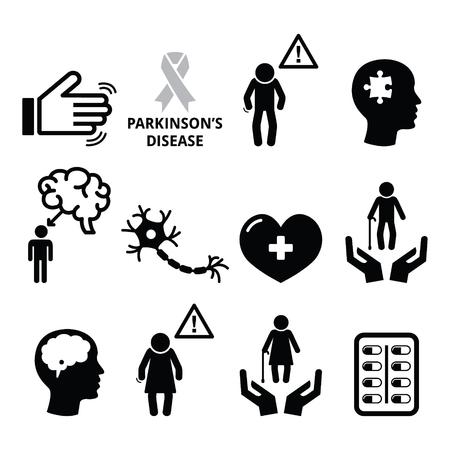 Parkinson's disease, senior's health icons set Stock Illustratie