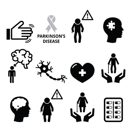 medical attention: Parkinsons disease, seniors health icons set