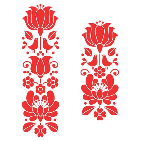 Kalocsai 붉은 자수 - 헝가리 꽃 민속 예술 긴 패턴 일러스트