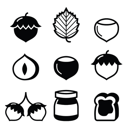 two stroke: Hazelnuts, nuts - food icons set Illustration