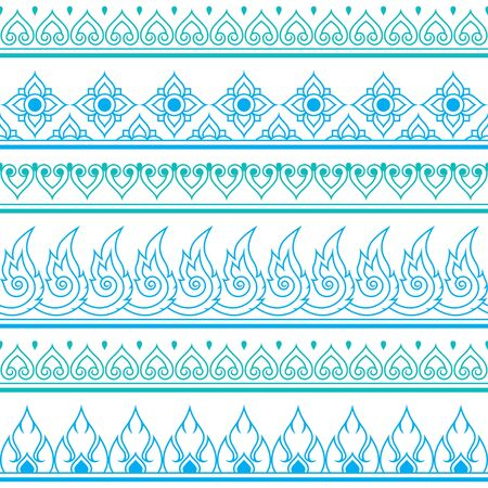 thai style: Seamless blue Thai pattern, repetitive design from Thailand - folk art style Illustration
