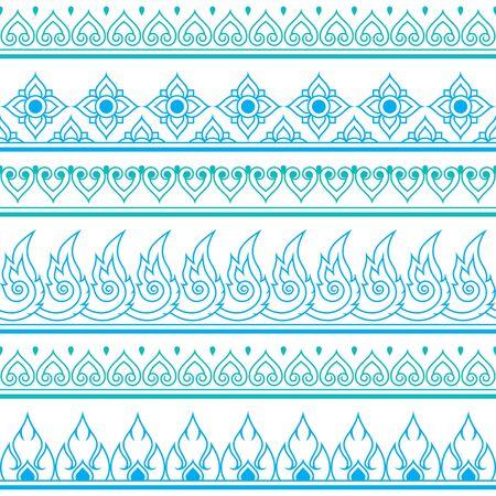 folk art: Seamless blue Thai pattern, repetitive design from Thailand - folk art style Illustration
