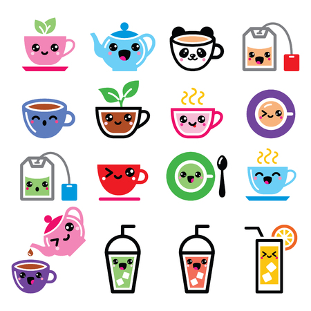 steam of a leaf: Kawaii tea, tea pot, ice tea cute characters Illustration