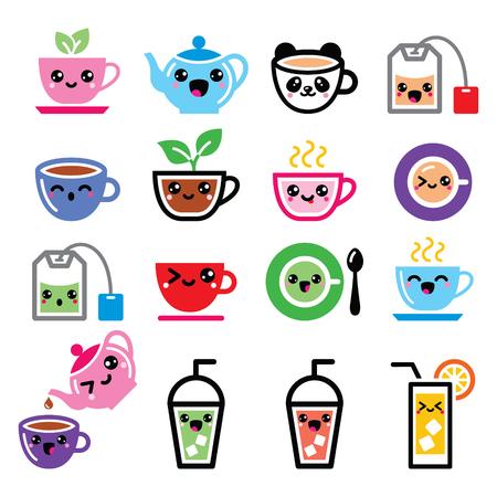 Kawaii tea, tea pot, ice tea cute characters Vettoriali