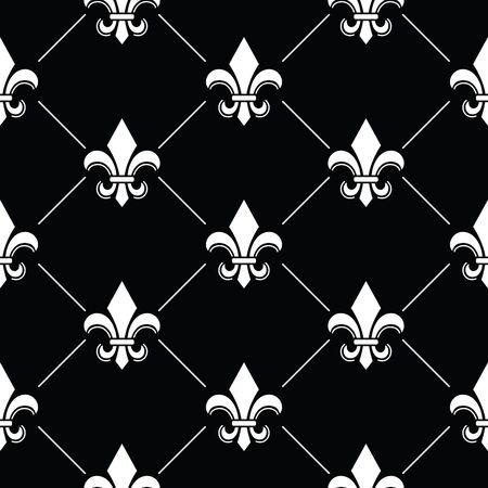 フランス ダマスク織背景 - フルール ・ ド ・ lis ブラック黒に白抜きの模様