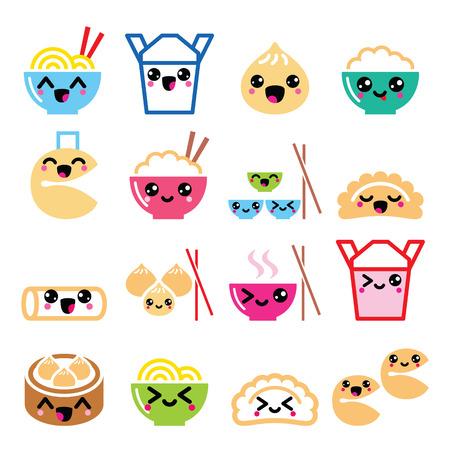 fortune cookie: Kawaii Chinese take away food characters- pasta, rice, spring rolls, fortune cookies, dumplings