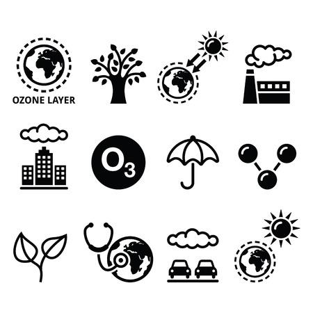 mundo contaminado: Día Mundial de la capa de ozono, la ecología, los iconos de cambio climático establece Vectores