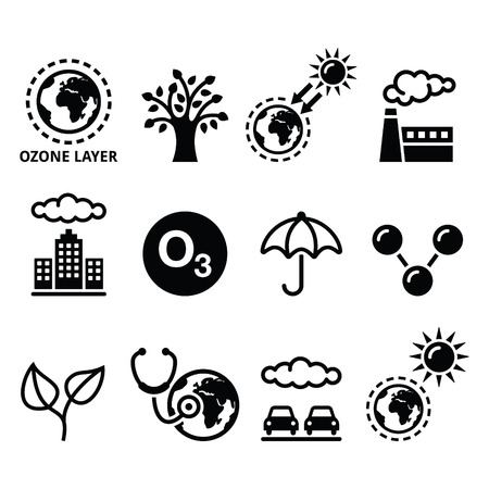 ozone layer: World ozone day, ecology, climate change icons set