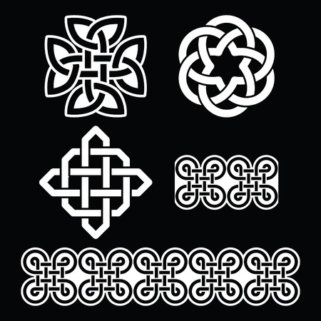 knot: Celtic Irish white patterns and knots - St Patricks Day Illustration