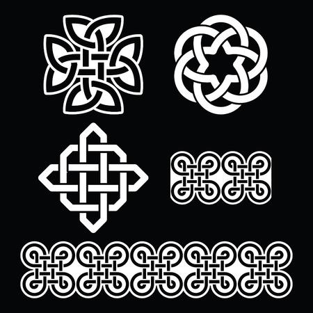 paganism: Celtic Irish white patterns and knots - St Patricks Day Illustration