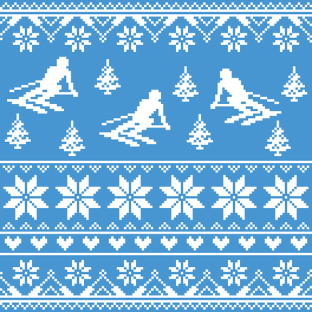 ugly man: Winter knit pattern - man skiing on blue background