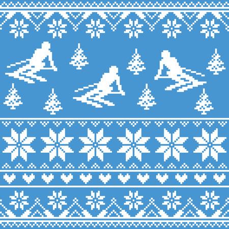 Zima drutach wzór - jazda na nartach człowiek na niebieskim tle