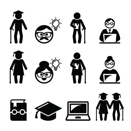 computer clubs: University of the Third Age, Senior education icons set