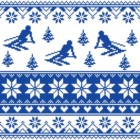 blue navy: De invierno de punto patr�n - hombre de esqu� - blanco y el fondo de color azul marino