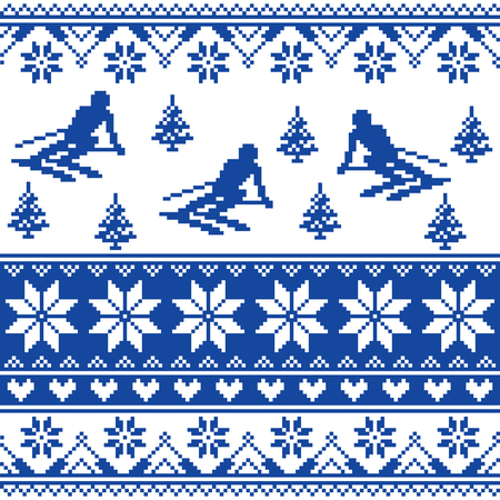 azul marino: Winter knit pattern - man skiing - white and navy blue background