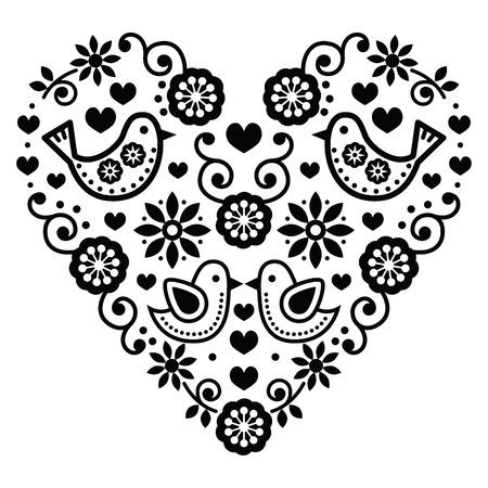 folk art: Folk art Valentines Day heart - love, wedding, birthday greetings card