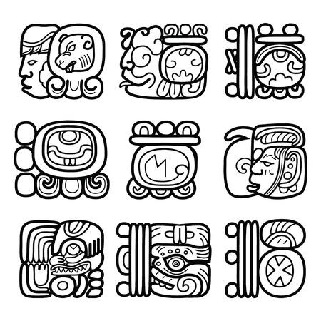 Glifos mayas, sistema de escritura y el diseño de lenguajes Foto de archivo - 58313974