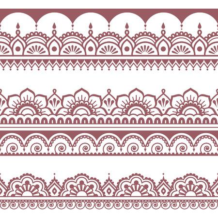 brown pattern: Indian seamless brown pattern, design elements - Mehndi tattoo style Illustration