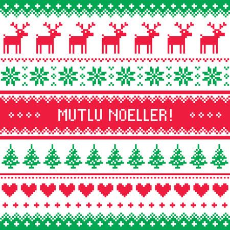 deer in heart: Merry Christmas in Turkish - Mutlu Noeller pattern