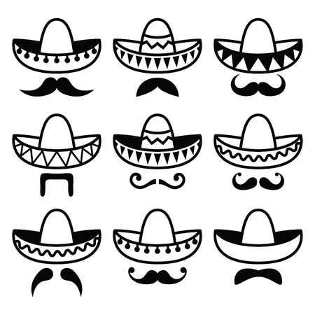 handlebar: Mexican Sombrero hat with moustache or mustache icons