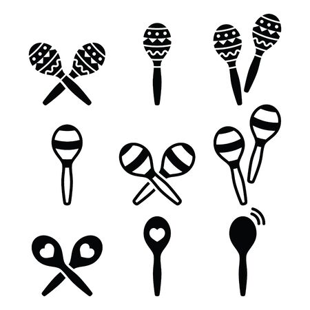 shakers: Maracas, Spanish or Rumba shakers icons set Illustration