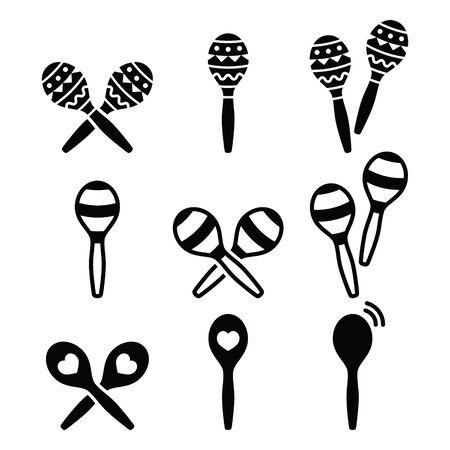 Maracas, Spanish or Rumba shakers icons set Ilustrace
