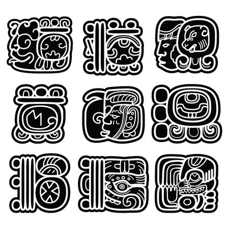 sistema de escritura maya, glifos mayas y el diseño Languge Ilustración de vector