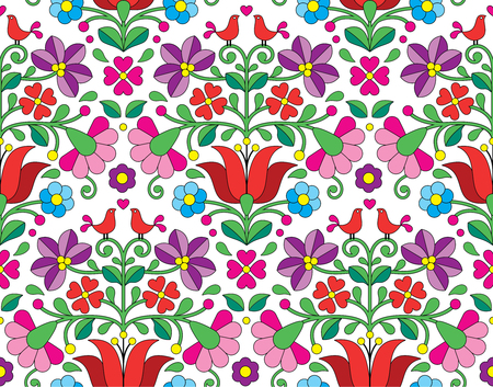 folk art: Kalocsai floral emrboidery seamless pattern - Hungarian folk art background Illustration