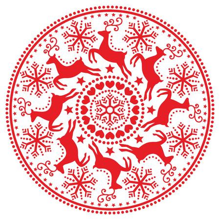 folk art: Christmas, winter round pattern with reindeer - folk art style