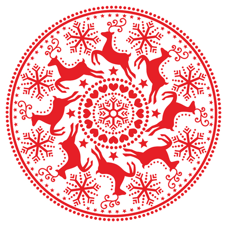 Christmas, winter round pattern with reindeer - folk art style