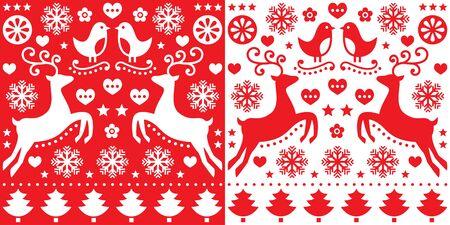 folk art: Christmas red greetings card pattern with reindeer - folk art style