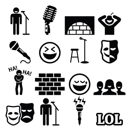 Stand up comedy, entertainment, people laughing icons set