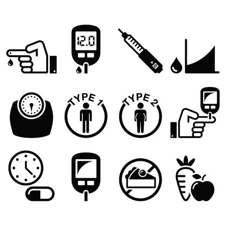 Diabetes disease, health icons set Vectores
