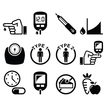 Diabetes disease, health icons set Vettoriali