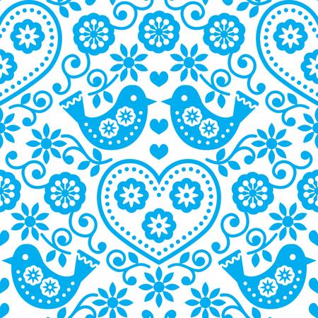 folk tales: Folk art seamless blue pattern with flowers and birds