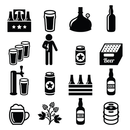brewery: Beer, brewery, pub icons set Illustration