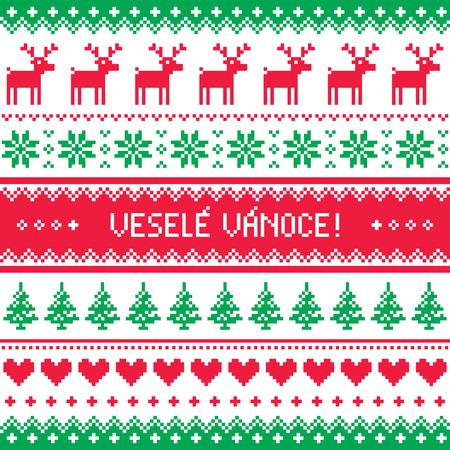 greetings card: Vesele Vanoce greetings card - Merry Christmas in Czech Illustration