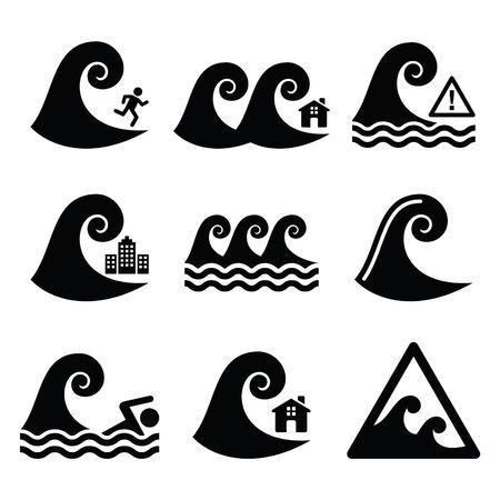 Tsunami, big wave warning, neutral disaster icons set