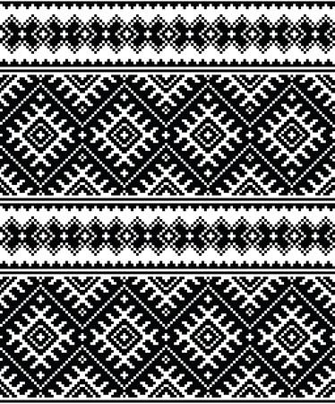 ukraine folk: Folk art black seamless pattern from Ukraine and Belarus