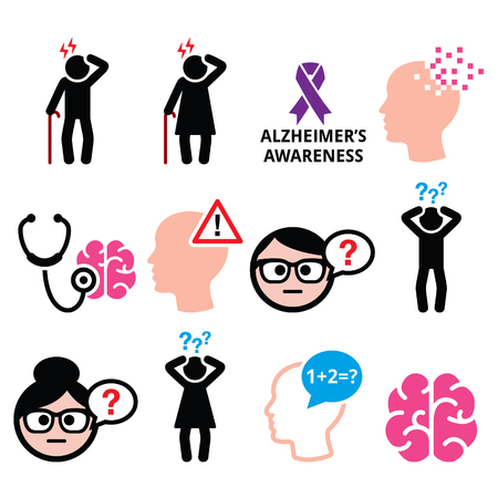 alzheimer's: Seniors health - Alzheimers disease and dementia, memory loss icons set