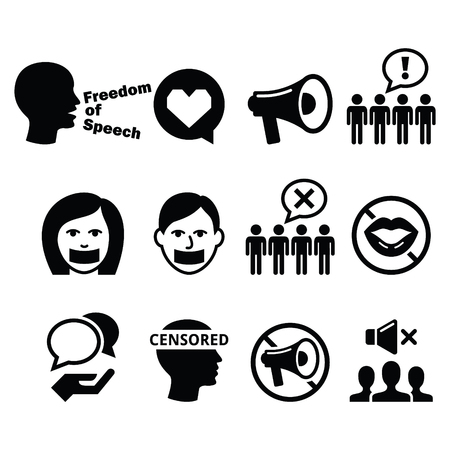 freedom fighter: Freedom of speech, human rights, freedom of expression, censorship concept - vector icons set