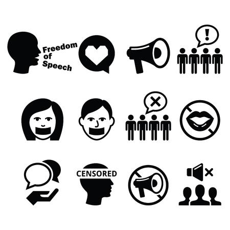 Vrijheid van meningsuiting, mensenrechten, vrijheid van meningsuiting, censuur concept - vector iconen set