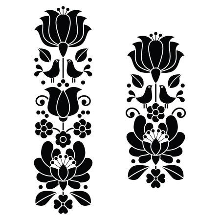 folk art: Kalocsai black embroidery - Hungarian floral folk art long patterns