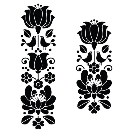 bordado: Kalocsai negro bordado - patrones largos húngaro del arte popular floral