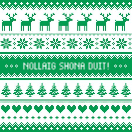 irish christmas: Nollaig Shona Duit - Merry Christmas in Irish pattern, greetings card