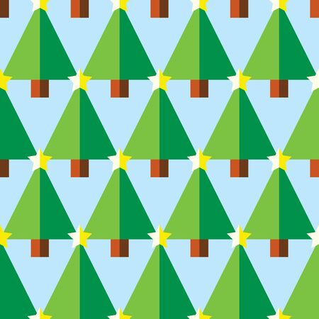 Geometric Christmas trees with star seamless pattern